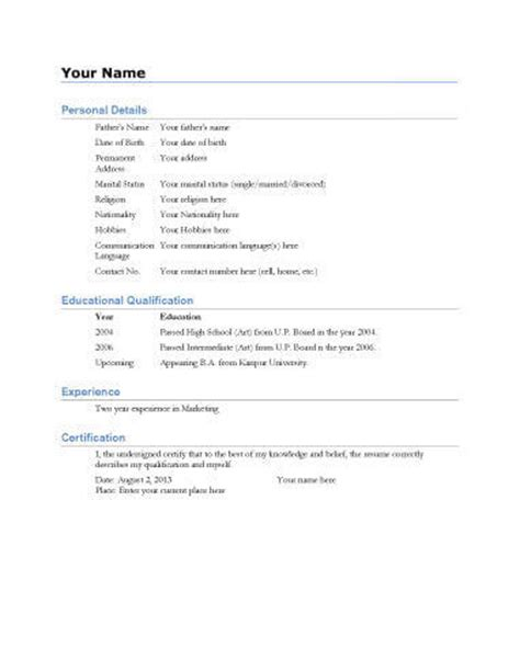 Specimen Of Professional Resume by Biodata What It Is 7 Biodata Resume Templates