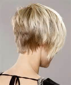 front and back views of chopped hair pixie haircut with long back