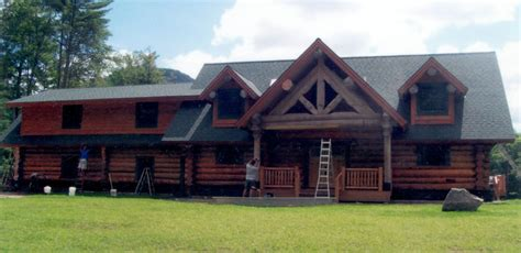 Handcrafted Log Home - adirondack log home builder j j custom log homes