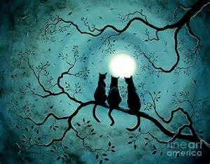 Three Black Cats Under A Full Moon By Laura Iverson