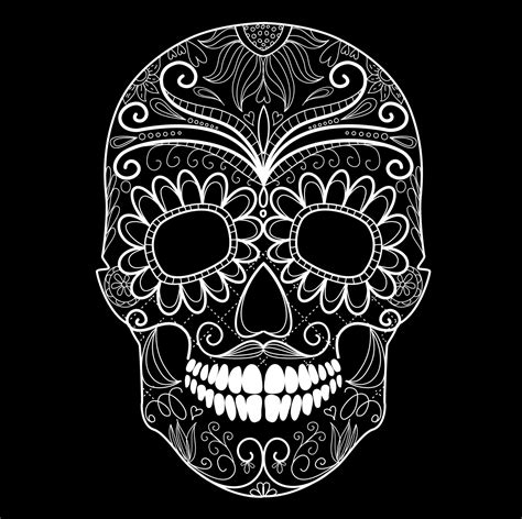 Day Of The Dead Black And White Skull And Grungy Skull Day Of The Dead Skull Vector
