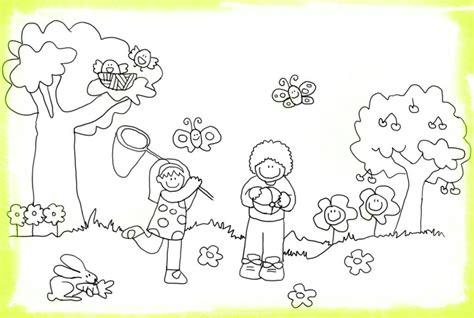 Imagenes Para Pintar Sobre La Primavera | dibujos ni 241 os en primavera para colorear im 225 genes de