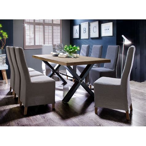gavi acacia grey large wooden dining table and 8 casper