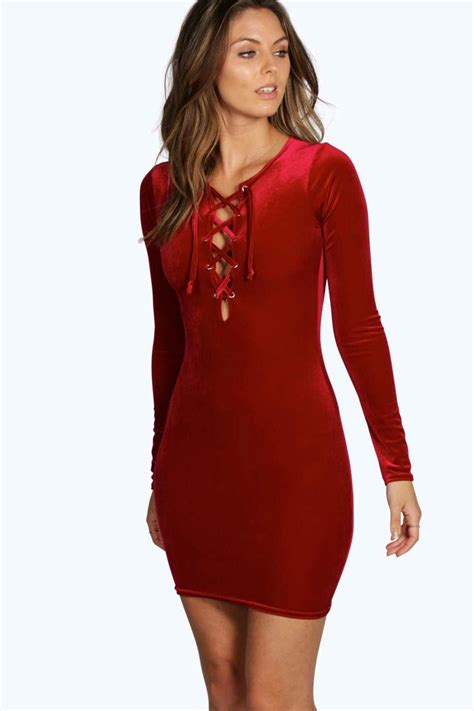 Lace Up Dress boohoo velvet lace up bodycon dress lyst