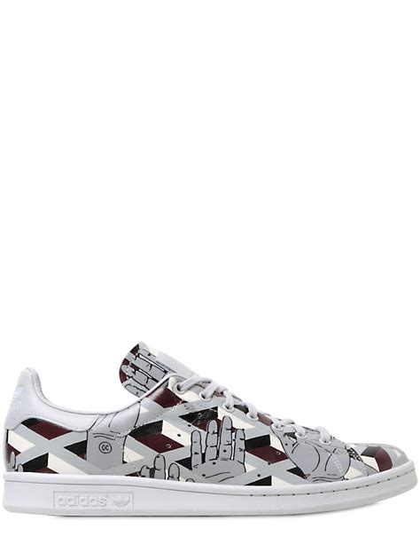 adidas leather sneakers lyst adidas originals stan smith printed leather