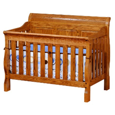 Solid Oak Baby Cribs Sleigh Panel 4 In 1 Convertible Baby Crib Made In Usa Baby Eco Trends