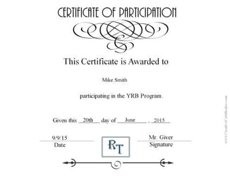 certificate of participation template certificate of participation