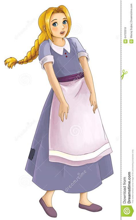 beautiful cartoon women art cartoon girl in old clothes stock illustration image