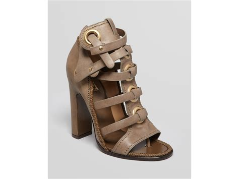 ferragamo gladiator sandals high heel in gray