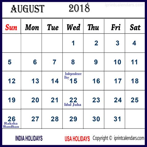 Calendar With Holidays For 2018 August 2018 Calendar With Holidays Calendar For 2019