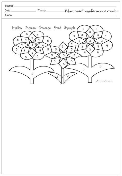 Colorindo as flores - Atividades de Inglês 1 ano