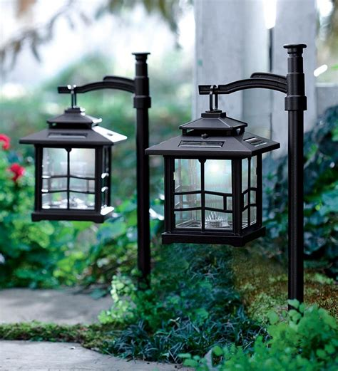 Lantern Solar Lights Outdoor Led Shepherds Hook Solar Lantern Lighting Plow Hearth