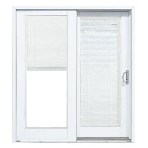 Sliding Patio Door With Blinds Masterpiece 72 In X 80 In Composite White Right Smooth Interior With Blinds Between Glass