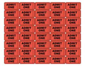 Admit One Ticket Template by Free Printable Admit One Ticket Templates Blank