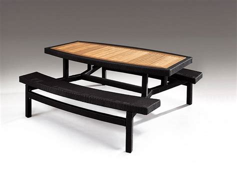 Patio Bench Table Modern Outdoor Picnic Table With Wooden Top And Attached Bench Seat With Metal Base And Rattan