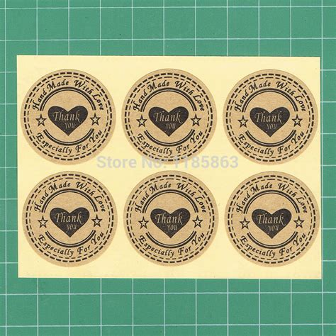 Handmade By Stickers - new wholesale 100pcs lot 30mm kraft seal sticker