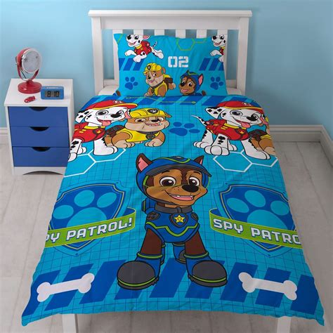 paw patrol bed set paw patrol spy reversible rotary single bed duvet quilt