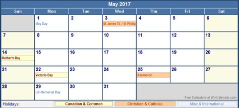 printable monthly calendar with canadian holidays may 2017 calendar canada yearly calendar printable