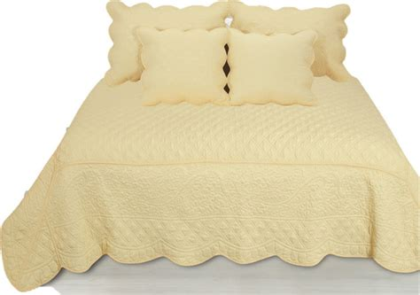 yellow coverlet king 5 piece quilted yellow buttercup puffs bedspread set