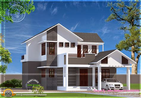 4 bhk sloping roof home design 1850 sq ft modern flat roof house in 2925 square keralahousedesigns