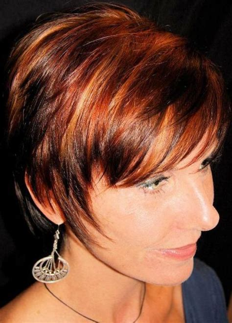 hair color high light pixie haircut with light auburn hair with highlights