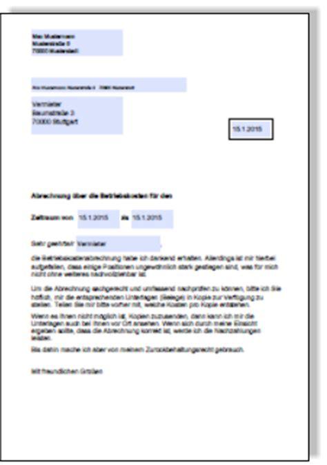 Muster Formular Nebenkostenabrechnung nebenkostenabrechnung belege anfordern musterbrief