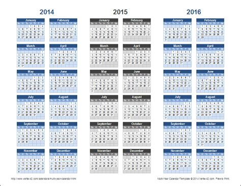 2 Year Calendar 3 Year Calendar Template For Excel