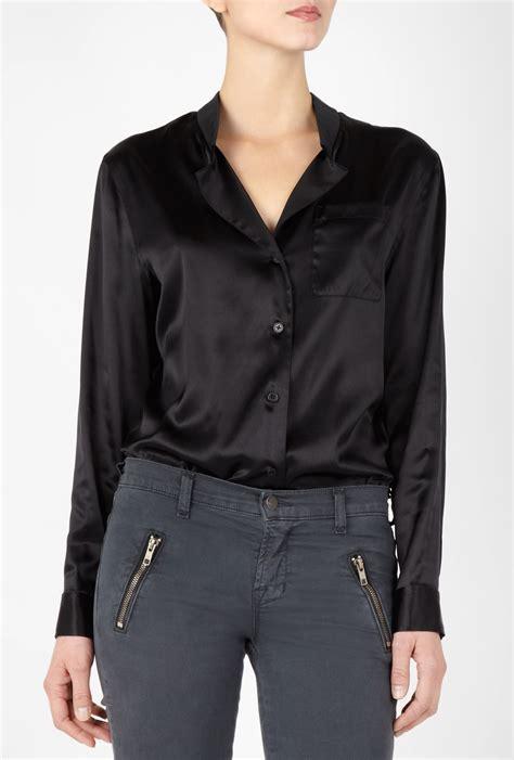 Deal Rok Dkny black silk button up blouse sleeved blouse