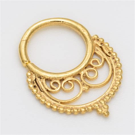 gold septum ring for pierced nose nose jewelry tribal