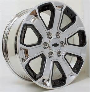 Chevy Truck 20 Inch Wheels New 20 Inch Chevy Chrome With Black Inserts Wheels Rims