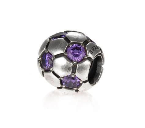 pandora silver and purple zirconia football charm