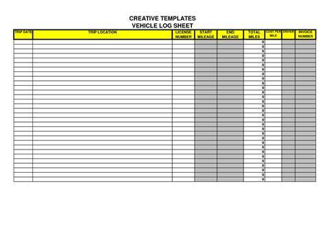 truck drivers trip sheet template best photos of driver daily log excel motor vehicle log