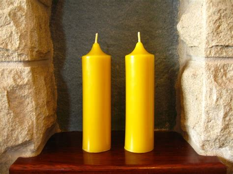 Handmade Beeswax Candles - pair of handmade beeswax church candles 13 5cm x 3 7cm