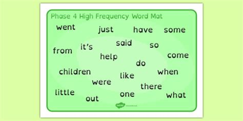 phase 2 word mat phase 4 high frequency word mat dyslexia phase 4 high
