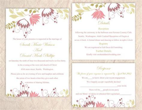colorful wedding invitation templates diy wedding invitation template set editable word file
