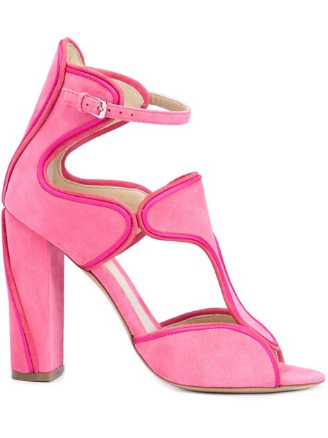 pink high heel sandals lyst lhuillier buckled chunky high heel sandals