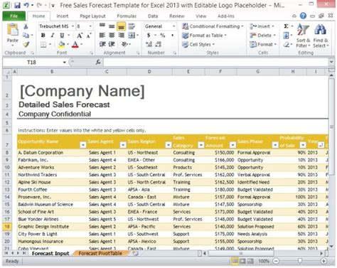 excel sales templates free sales forecast template for excel 2013 with editable logo