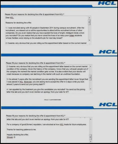 Hcl Offer Letter 3 Years Receives Hcl Appointment Letter 3 Years After Cus Selection Rejects Like A