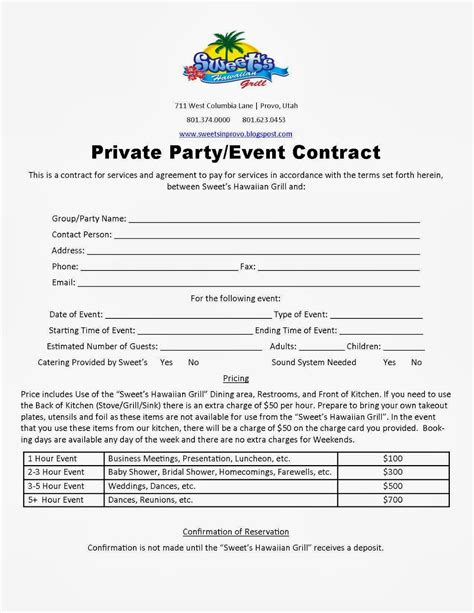 Party Planner Contract Template Google Search Contract Template Birthday Contract Template