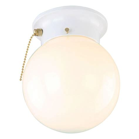 Ceiling Lights With Pull Chain Design House 1 Light White Ceiling Light With Opal Glass With Pull Chain 510040 The Home Depot