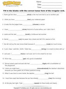 write correct tense form of irregular verb in each