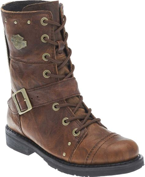 brown biker style boots harley davidson women s monetta 7 75 quot brown motorcycle