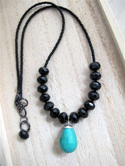 facetted turquoise and black onyx vintage bead artisan