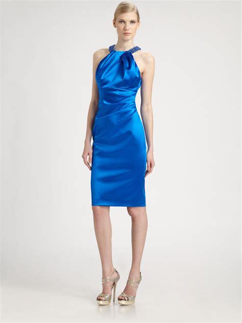 Dress Satin blue satin dress dress yp
