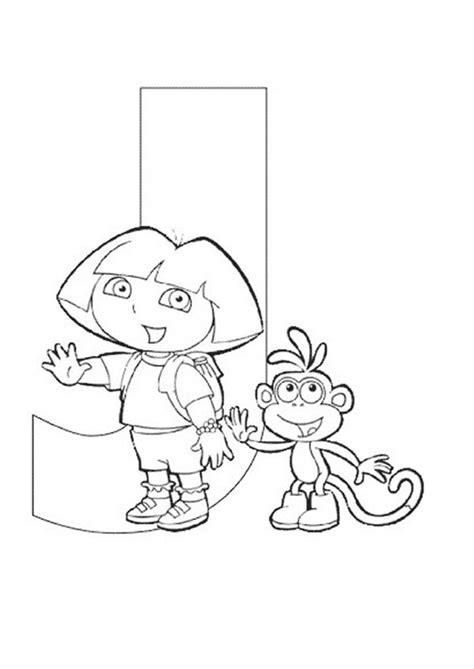 coloring pages for dora and boots dora the explorer alphabet dora and boots love letter j