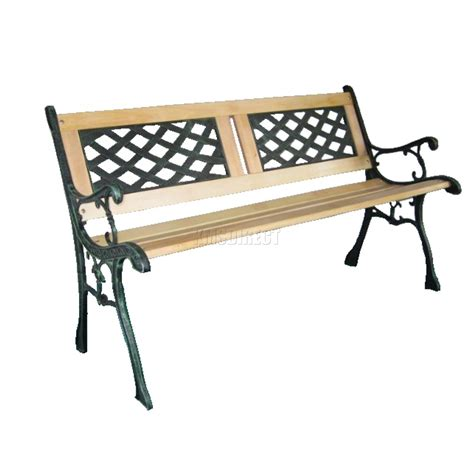 wrought iron bench wood slats outdoor wooden garden bench 3 seat lattice slat style with