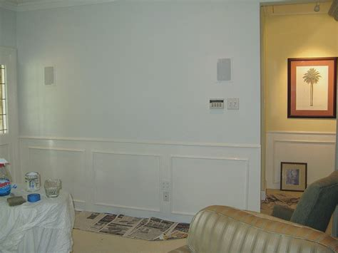 wainscoting is sherwin williams villa white walls are martha stewart blue paint