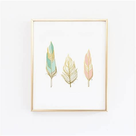 Three Feathers In Blush Teal | three feathers in blush teal and gold wall print