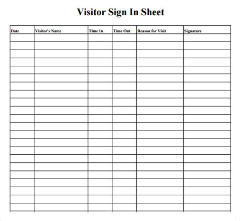 visitor sign in sheet 7 free sles exles format