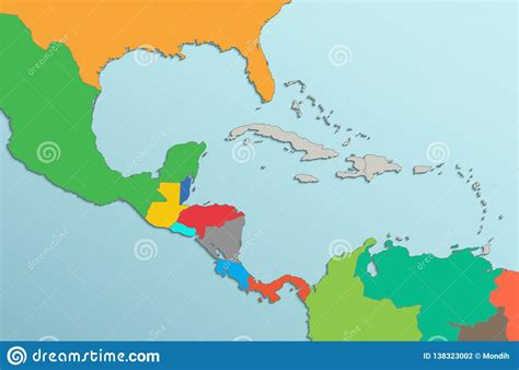 caribbean islands central america map card colors  blank